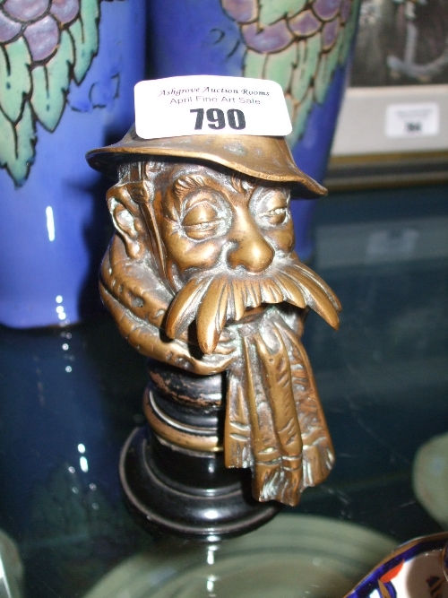 Lot 790 - An Old Bill Car Mascot by Bruce Bairnsfather, in cast bronze, signed to rim of helmet, the underside