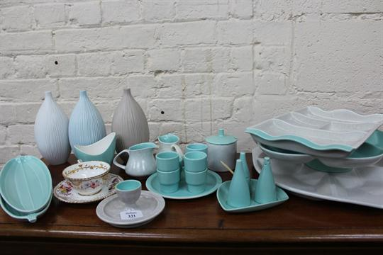 A LARGE QUANTITY OF POOLE POTTERY DUCK EGG BLUE AND DAPPLED GREY DINNER SERVICE to include plates & A LARGE QUANTITY OF POOLE POTTERY DUCK EGG BLUE AND DAPPLED GREY ...