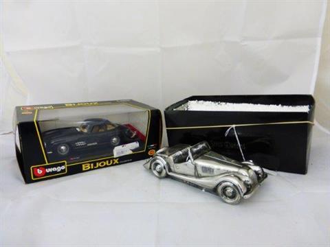 A Leonardo model of a Morgan car `Silver Dreams` and a boxed