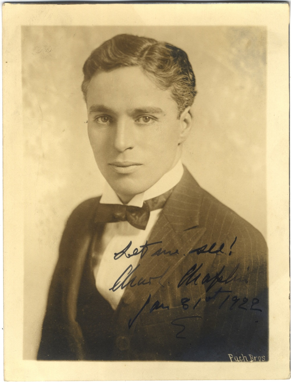 Lot 230 - CHAPLIN CHARLES: (1889-1977) English Film Comedian, Academy Award winner. A good vintage signed