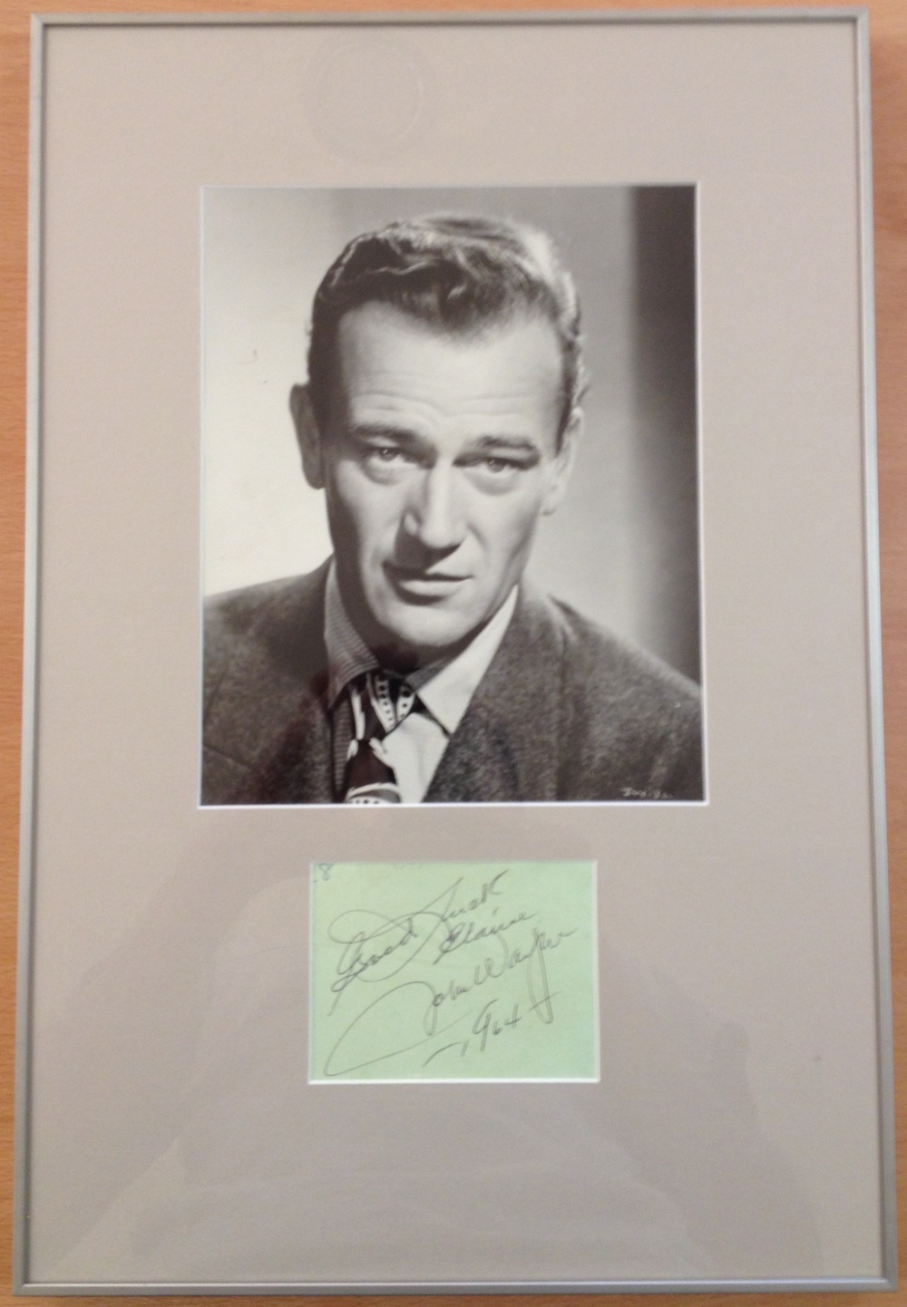 WAYNE JOHN: (1907-1979) American Actor, Academy Award winner. Black ink signature and inscription on