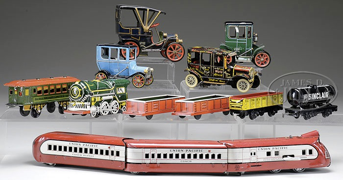 LOT OF 11 TRAINS & JALOPY TOYS Lot includes a Marx Union