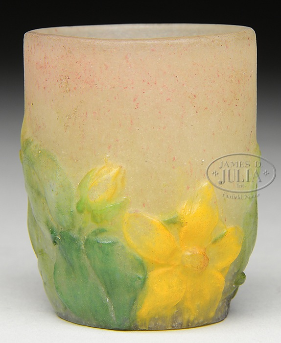 A. WALTER PATE DE VERRE MINI TUMBLER. A. Walter pate de verre mini tumbler has yellow flowers and