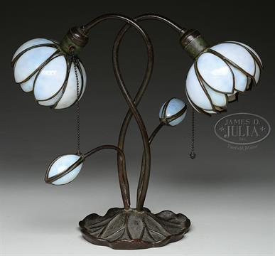 HANDEL TULIP TABLE LAMP. Handel Table Lamp Has Leaf Shaped Foot Supporting  Four Curving Stems Le
