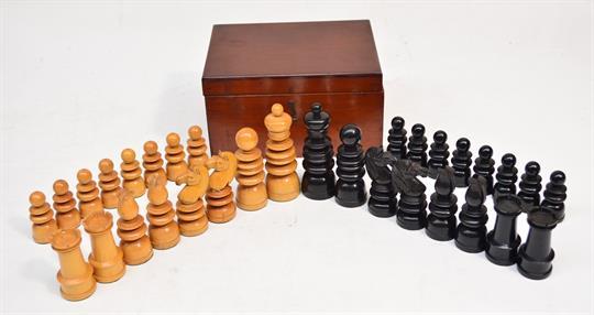 A good Jaques St George turned ebony and boxwood chess set