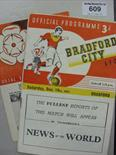 Lot 609 - A collection of 4 football programmes, 1953/54 Bradford City v Bradford Park Avenue, Bradford PA v