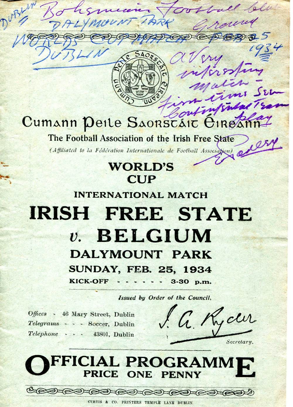 Lot 507 - 1934 Irish Free State v Belgium, a rare programme from the World Cup qualifying tournament game