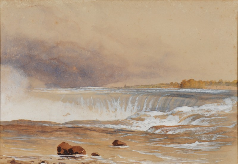 Lot 379 - Colonel Edmund Gilling Hallewell [1822-1869] Niagara Falls with the old Terrapin Tower and Horseshoe