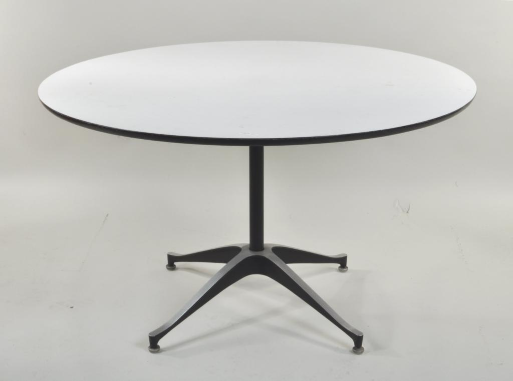 Lot 249   Danish Modern Formica Top Round Table Modern Round Formica Top  Table, 20th