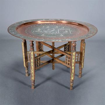 Egyptian Silver Inlaid Copper Charger With Levantine Table