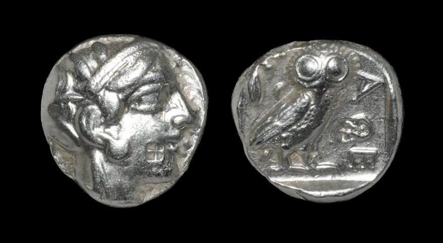 Greek Athens - Owl Tetradrachm Circa 454-404 BC, Athens, Attica. Obv: helmeted head of Athena