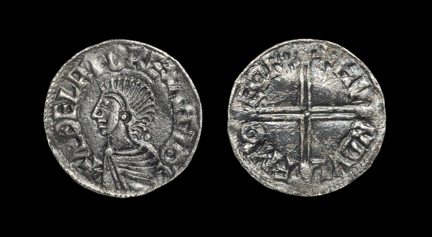 Anglo-Saxon Aethelred II - York / Hundulf - Long Cross Penny 997-1003 AD, BMC iv. Obv: profile bust