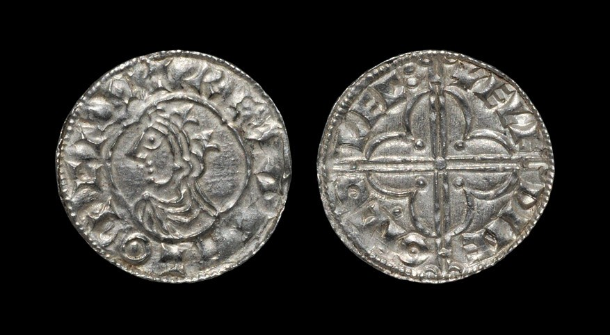 Anglo-Saxon Cnut - Colchester / Aelfwine - Quatrefoil Penny 1016-1035 AD, BMC type viii. Obv: