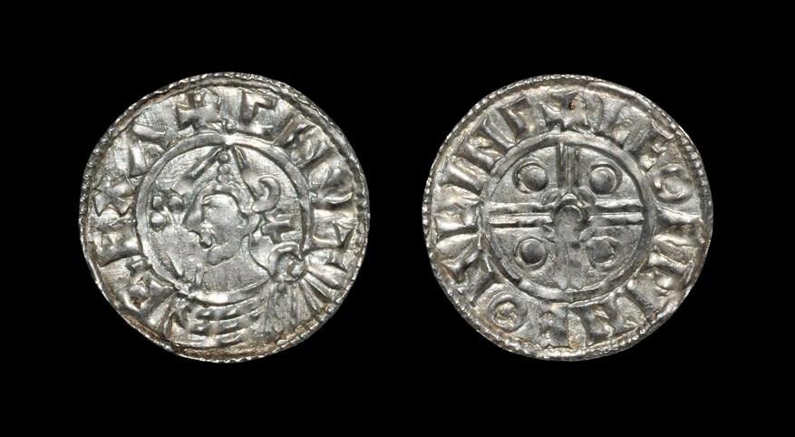 Anglo-Saxon Cnut - Lincoln / Leofwine - Helmet Penny 1024-1030 AD, BMC type xiv. Obv: profile bust