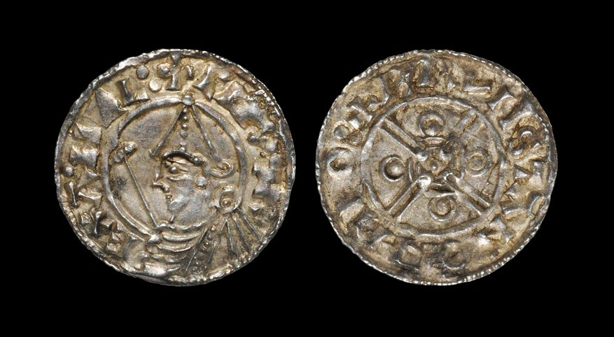 Anglo-Saxon Cnut - Thetford / Brunstan - Helmet Penny 1024-1030 AD, BMC type xiv. Obv: profile bust
