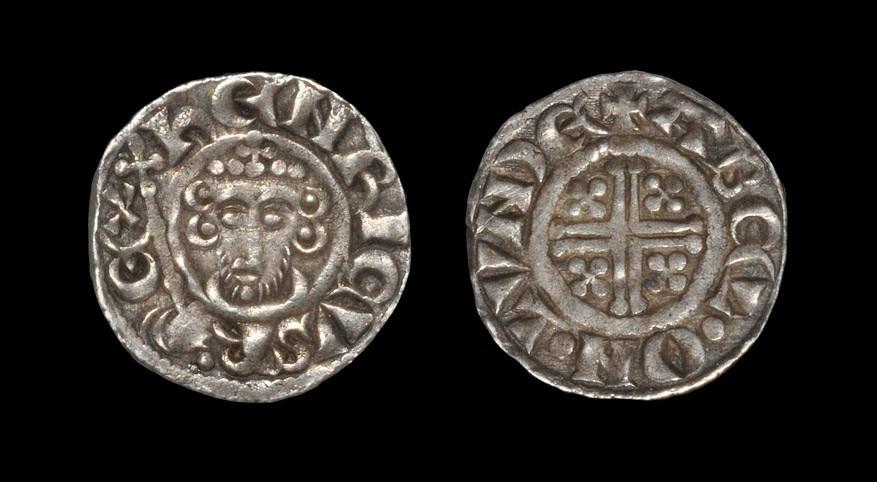 English Medieval John - London / Abel - Short Cross Penny 1204-1209 AD, class Vc. Obv: facing bust