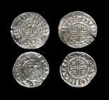 English Medieval John to Henry III - Short Cross Pennies [2] 1204-1222 AD, classes 5c and 7a. Obvs: