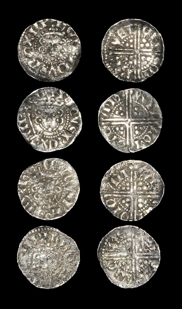 English Medieval Henry III - Long Cross Pennies [4] 1248-1272 AD, classes 3b-5c. Obvs: Facing bust