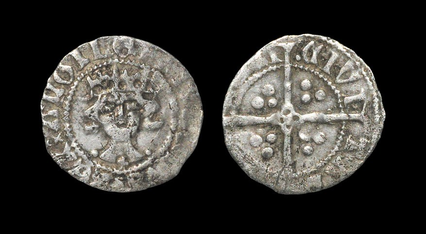 English Medieval Richard II - York - Penny 1377-1399 AD, local dies, group A. Obv: facing bust with