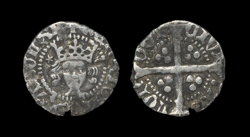 English Medieval Henry V - Long Cross Penny 1413-1422 AD, Class F. Obv: facing bust with +HENRIC