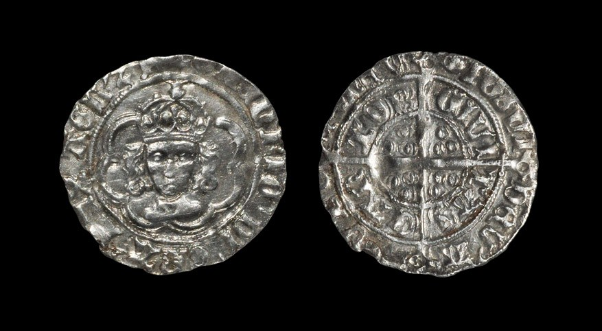English Medieval Henry VII - Canterbury - Half Groat 1490-1500 AD, class IIIc. Obv: facing bust in