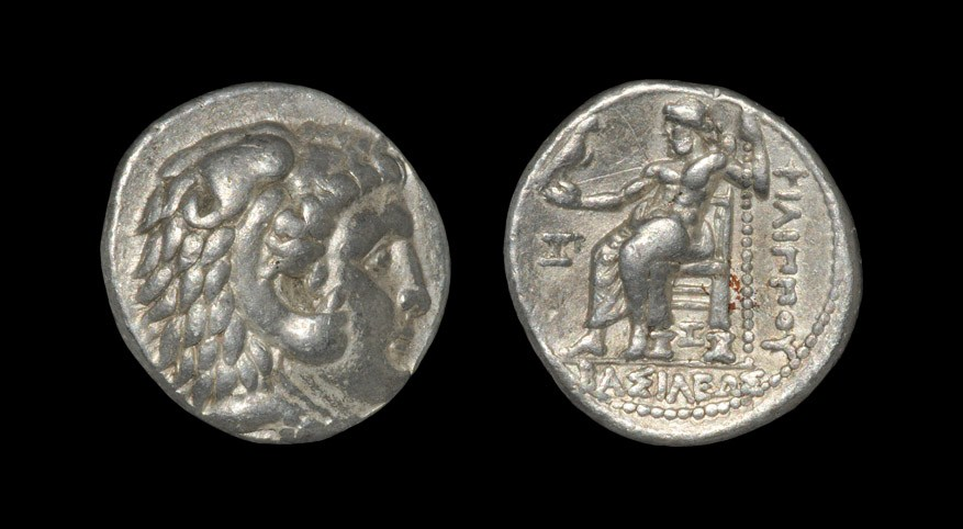 Greek Macedonia - Philip III - Zeus Tetradrachm 323-316 BC, Marathus Mint. Obv: head of Herakles