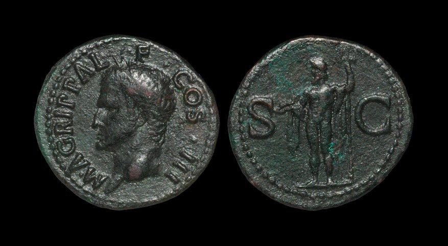 Roman Agrippa - Neptune As Struck under Caligula, 37-41 AD, Rome mint. Obv: M AGRIPPA L F COS III