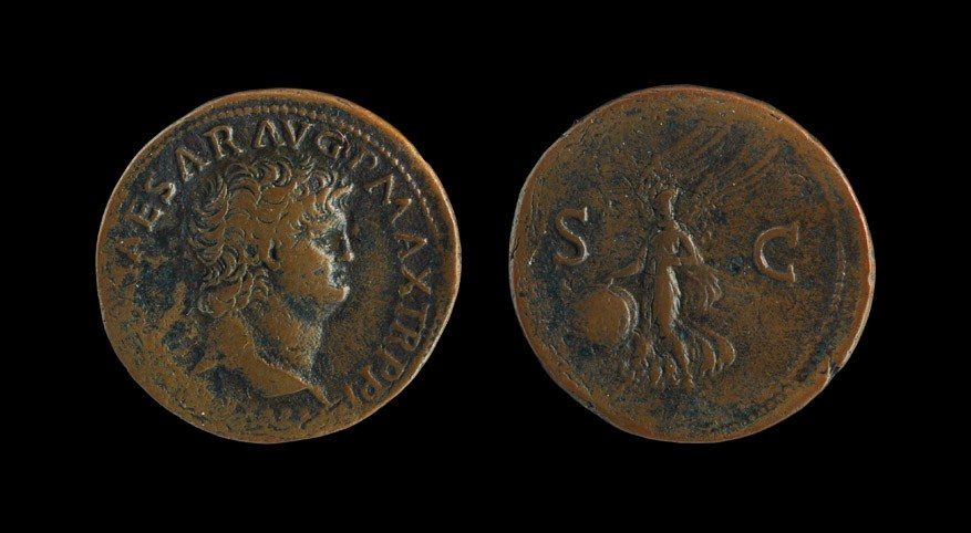 Roman Nero - Alighting Victory As 66 AD, Lyons mint. Obv: IMP NERO CAESAR AVG P MAX TR P PP legend