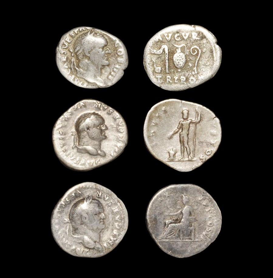 Roman Vespasian - Denarii [3] 81-96 AD. Revs: AVGVR PON MAX legend above and below sacrificial
