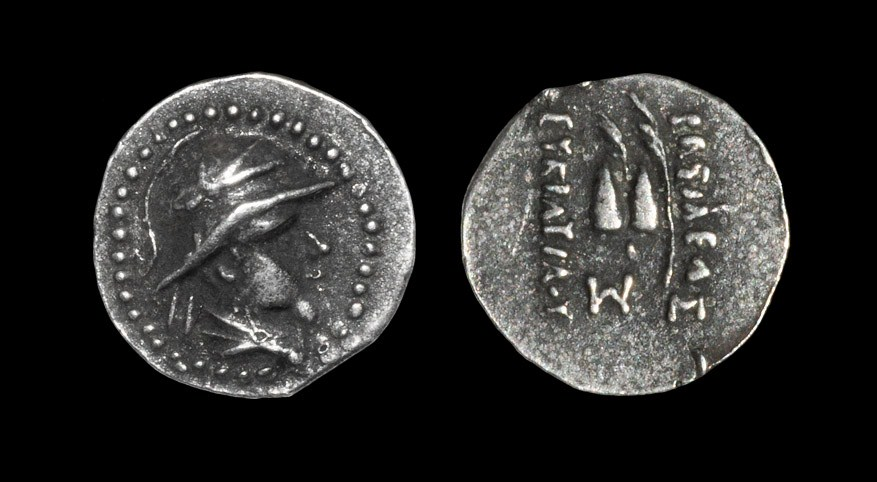 Greek Bactria - Eukratides I - Dioskouri Obol 170-145 BC. Obv: helmeted, draped bust right. Rev: