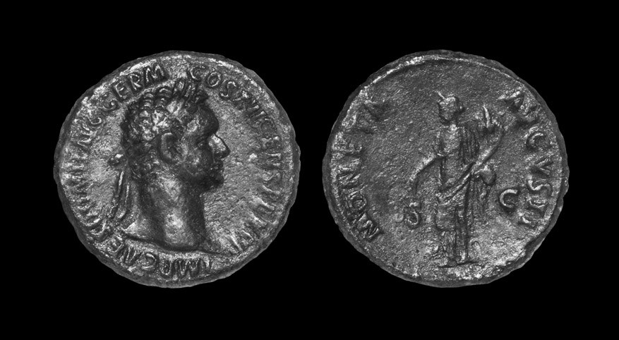 Roman Domitian - Moneta As 92-94 AD, Rome mint. Obv: IMP CAES DOMIT AVG GERM COS XVI CENS PER PP