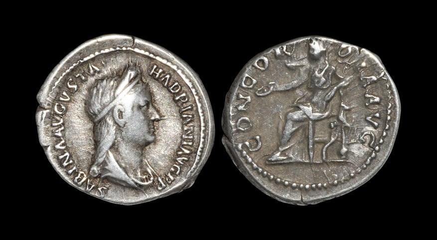 Roman Sabina - Concordia Denarius 129 AD. Obv: SABINA AVGVSTA HADRIANI AVG P P legend with draped