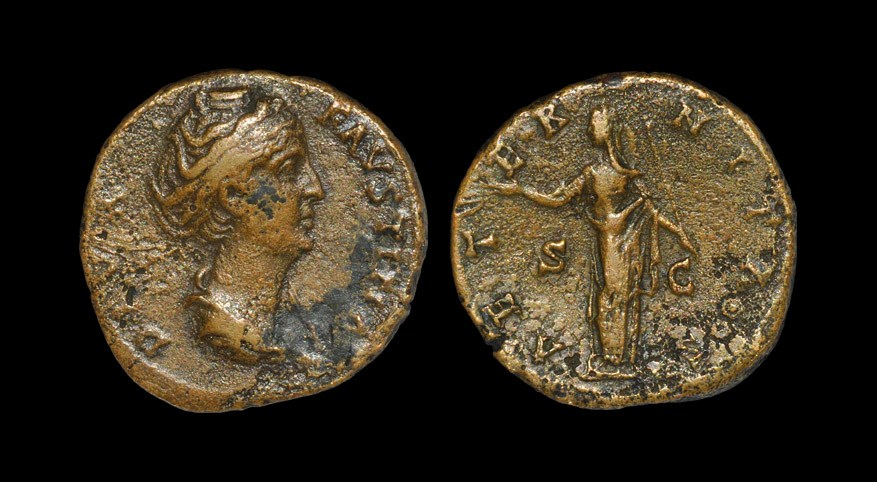 Roman Faustina I - Posthumous Aeternitas Sestertius After 147 AD, posthumous issue, Rome mint. Obv: