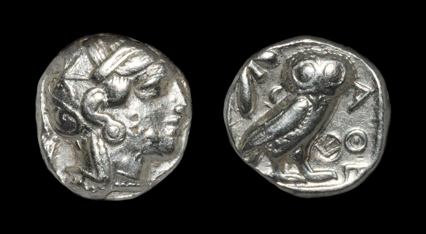 Greek Athens - Owl Tetradrachm Circa 454-404 BC, Athens, Attica. Obv: helmeted head of Athena