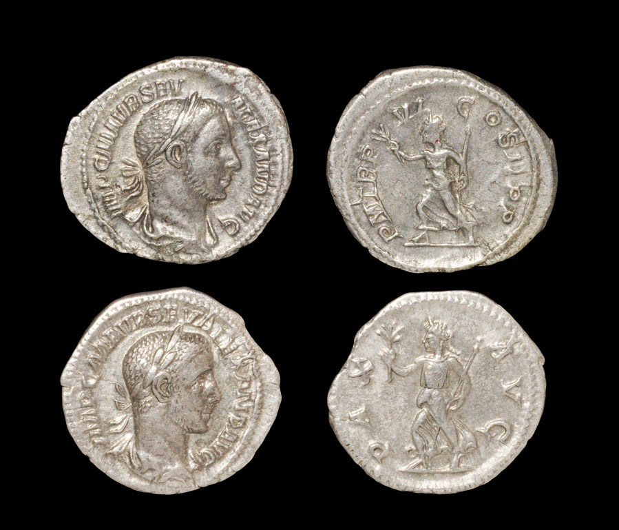 Roman Severus Alexander - Denarii [2] 227 AD, Rome mint. Rev: Pax running left with IMP VI COS II