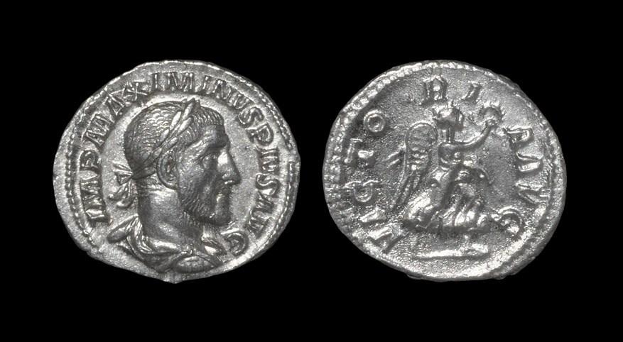 Roman Maximinus I - Victory Denarius 235 AD, Rome mint. Obv: IMP MAXIMINVS PIVS AVG legend with