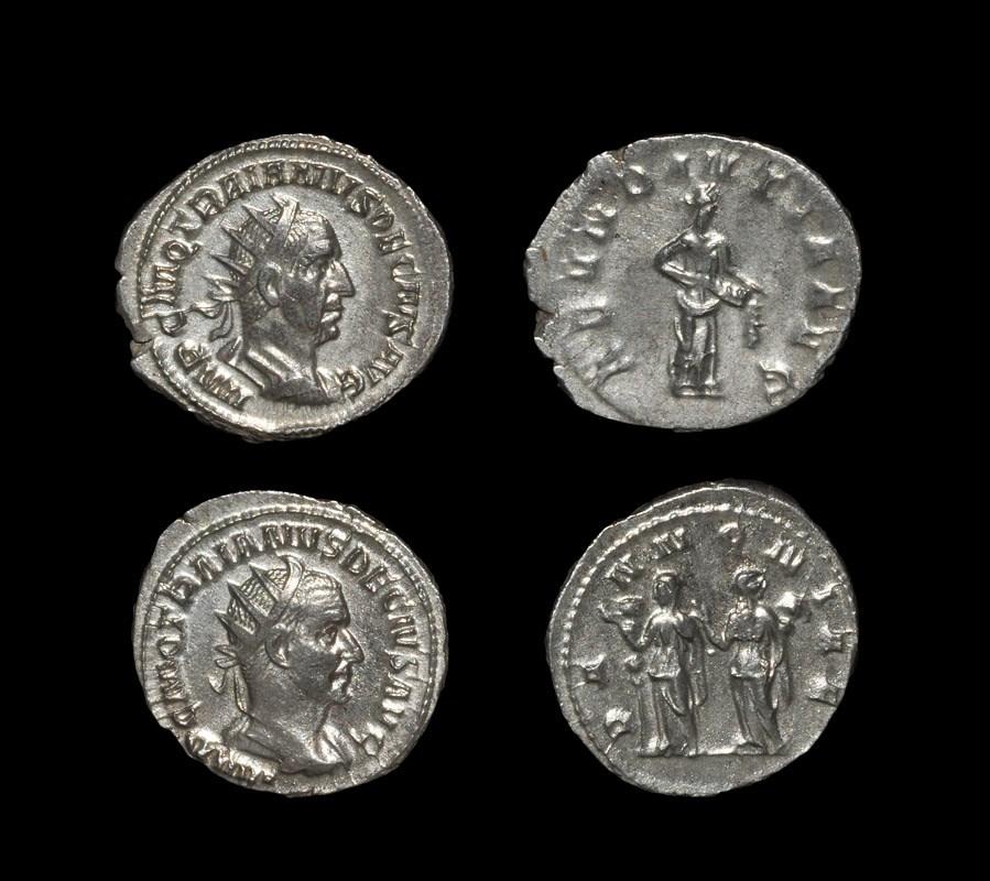 Roman Trajan Decius - Antoninianii [2] 249-251 AD, Rome mint. Revs: Abundantia and the two
