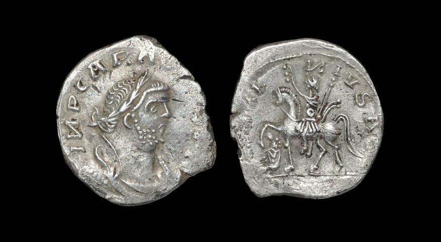 Roman Carausius - Emperor Riding Denarius Semi-barbaric type. Obv: INP CARAVSIVS (INV?) legend with
