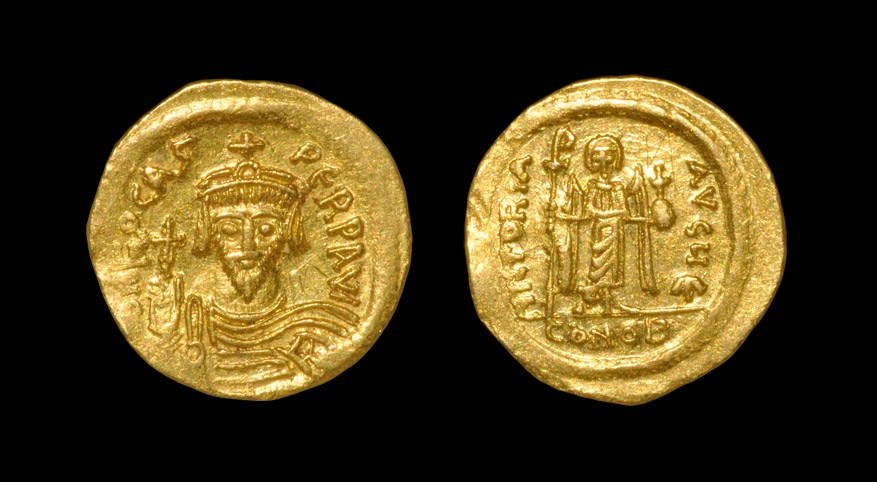 Byzantine Phocas - Angel Gold Solidus 602-610 AD, Constantinople mint. Obv: dN FOCAS PERP AVG (G