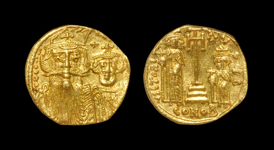 Byzantine Constans II and Constantine IV - Victory Gold Solidus 641-668 AD. Constantinople mint.