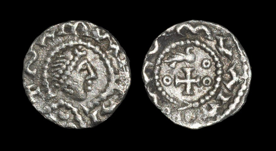 Anglo Saxon Primary Series BI - Bird on Cross Sceatta 680-710 AD. Obv: profile diademed bust with