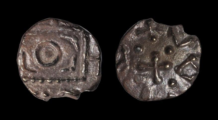 Saxon Continental Series - Standard Sceatta Circa 600-775 AD. Obv: standard with angular symbols.