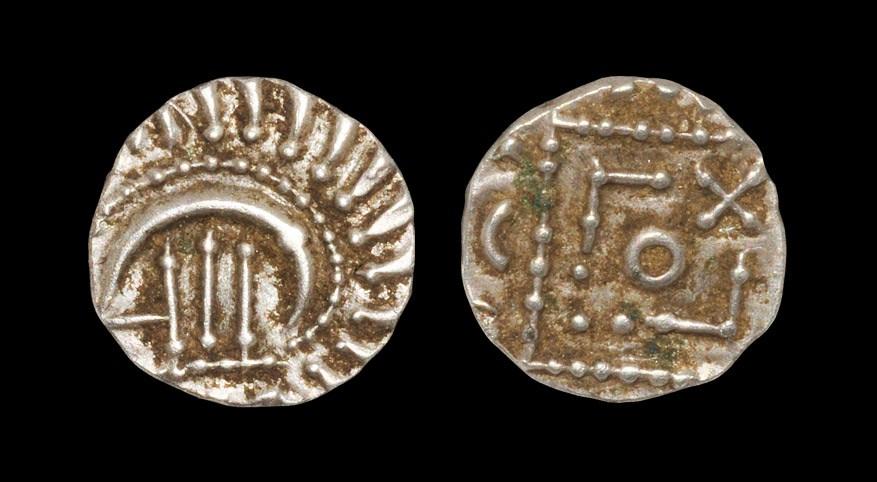 Saxon Continental Series - Porcupine Sceatta 695-740 AD, series E. Obv: degenerate head enclosing