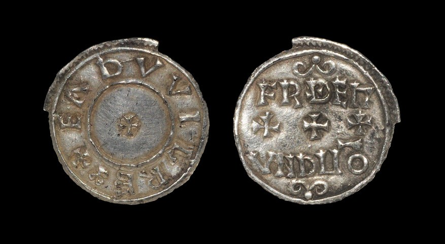 Anglo-Saxon Eadwig - Winchester? / Frithemund - Unique Two Line Penny 955-959 AD. Obv: small cross