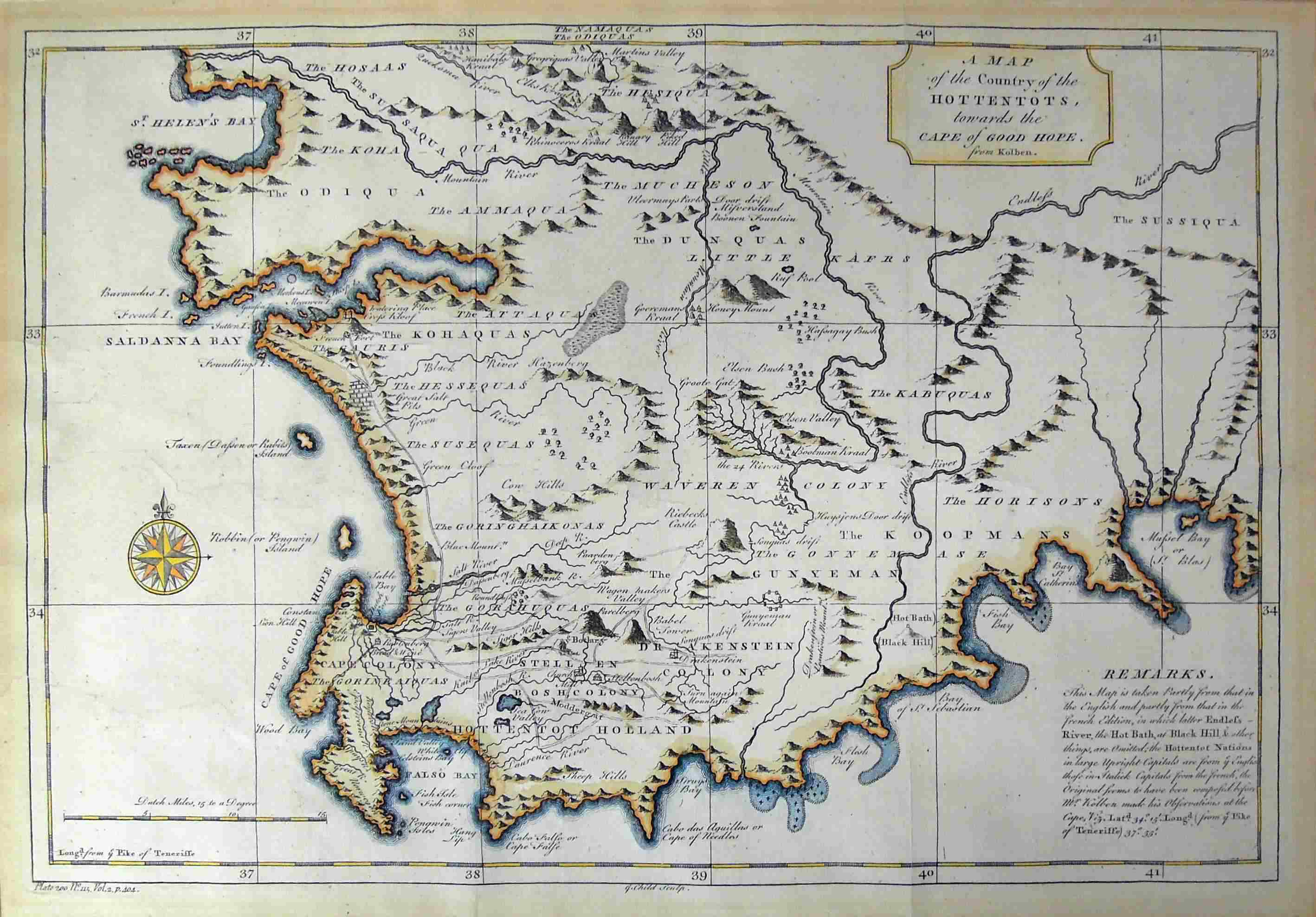 A MAP OF THE COUNTRY OF THE HOTTENTOTS, TOWARDS THE CAPE OF GOOD ...
