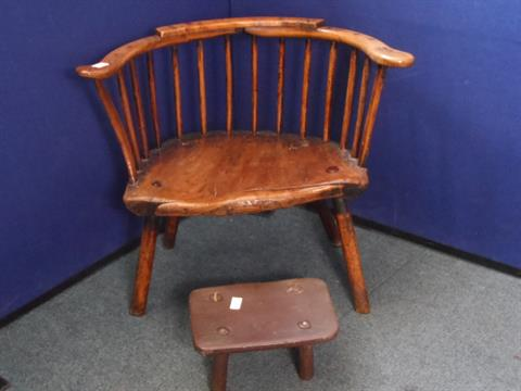 Charmant An Antique Elm Spindle Back Farmhouse Chair, The Chair Being On Short Legs  Together With A Four L