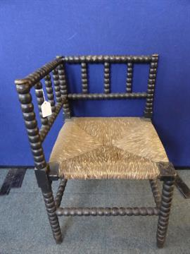 Antique Rattan Seated Small Corner Chair Having Bobbin Decoration To The  Back, Spindles, Legs And