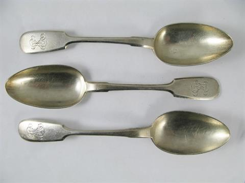 A Russian Silver Pair of Table Spoons,  84, St  Petersburg