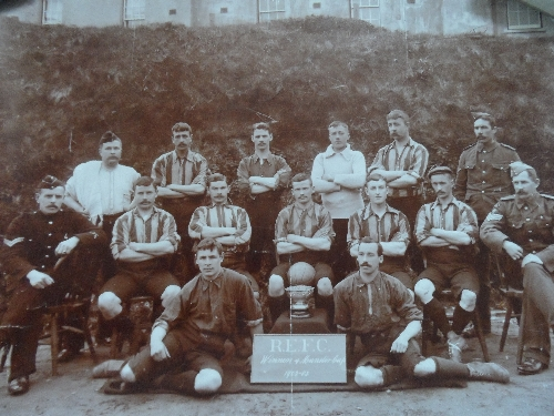 Lot 403 - Football - ROYAL ENGINEERS, an original 11 x 9 team photo of R.E.F.C. winners of the Munster Cup