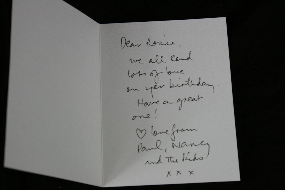 PAUL MCCARTNEY Birthday card from Paul and Nancy written by – Writing Birthday Greetings
